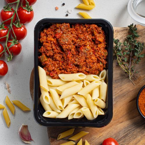 Droog trainen - Pasta Beef - Paprika Bolognese | Muscle Meals